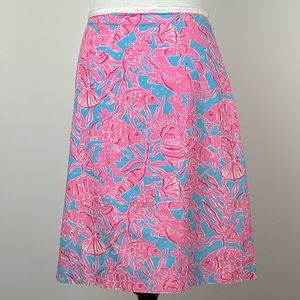 Lilly Pulitzer skirt sz 4 Blue pink under the sea